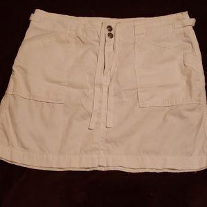 White khaki mini skirt
